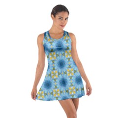 Blue Nice Daisy Flower Ang Yellow Squares Cotton Racerback Dress