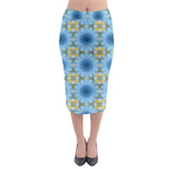 Blue Nice Daisy Flower Ang Yellow Squares Midi Pencil Skirt