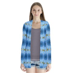 Blue Nice Daisy Flower Ang Yellow Squares Drape Collar Cardigan