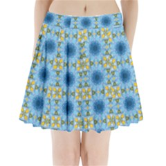 Blue Nice Daisy Flower Ang Yellow Squares Pleated Mini Skirt