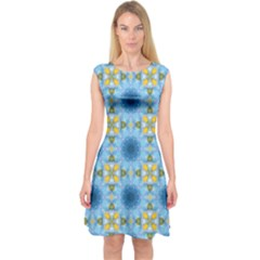 Blue Nice Daisy Flower Ang Yellow Squares Capsleeve Midi Dress