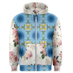 Pink And White Flowers  Men s Zipper Hoodie