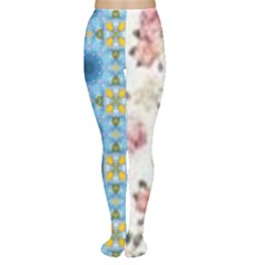 Pink And White Flowers  Women s Tights