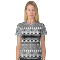 Aztec Influence Pattern V Neck Sport Mesh Tee