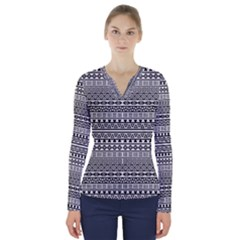 Aztec Influence Pattern V Neck Long Sleeve Top