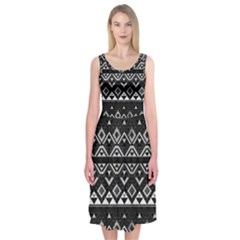 Aztec Influence Pattern Midi Sleeveless Dress
