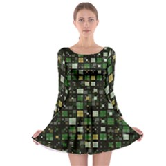 Small Geo Fun C Long Sleeve Skater Dress