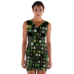 Small Geo Fun C Wrap Front Bodycon Dress