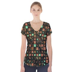 Small Geo Fun A Short Sleeve Front Detail Top