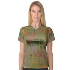 Abstract Art V Neck Sport Mesh Tee