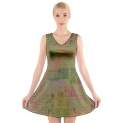 Abstract Art V Neck Sleeveless Skater Dress