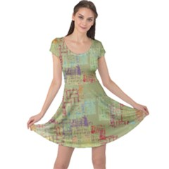 Abstract Art Cap Sleeve Dress