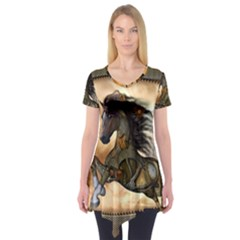 Steampunk, Wonderful Steampunk Horse With Clocks And Gears, Golden Design Short Sleeve Tunic