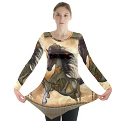 Steampunk, Wonderful Steampunk Horse With Clocks And Gears, Golden Design Long Sleeve Tunic