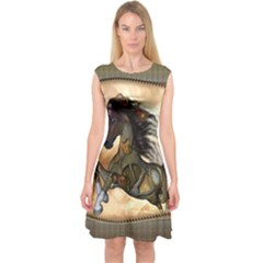 Steampunk, Wonderful Steampunk Horse With Clocks And Gears, Golden Design Capsleeve Midi Dress