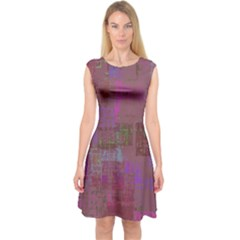Abstract Art Capsleeve Midi Dress