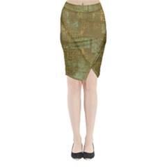 Abstract Art Midi Wrap Pencil Skirt