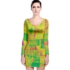 Abstract Art Long Sleeve Velvet Bodycon Dress