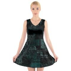 Abstract Art V Neck Sleeveless Skater Dress