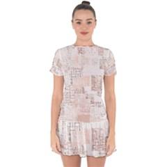 Abstract Art Drop Hem Mini Chiffon Dress