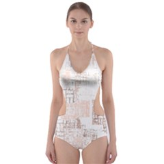 Abstract Art Cut Out One Piece Swimsuit