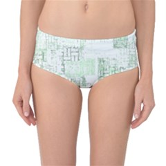 Abstract Art Mid Waist Bikini Bottoms