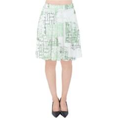 Abstract Art Velvet High Waist Skirt