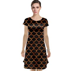 Scales1 Black Marble & Copper Foil Cap Sleeve Nightdress