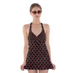 Scales1 Black Marble & Copper Foil Halter Swimsuit Dress