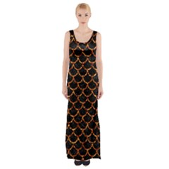 Scales1 Black Marble & Copper Foil Maxi Thigh Split Dress