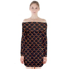 Scales1 Black Marble & Copper Foil Long Sleeve Off Shoulder Dress