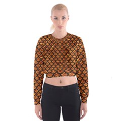 Scales1 Black Marble & Copper Foil (r) Cropped Sweatshirt
