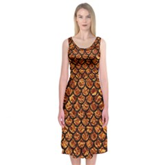 Scales1 Black Marble & Copper Foil (r) Midi Sleeveless Dress