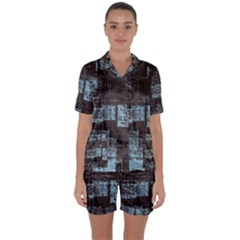 Abstract Art Satin Short Sleeve Pyjamas Set