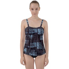 Abstract Art Twist Front Tankini Set