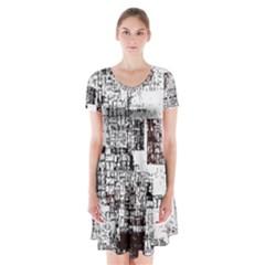 Abstract Art Short Sleeve V Neck Flare Dress