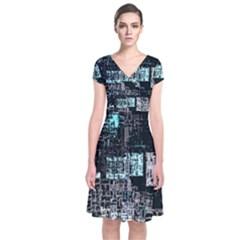 Abstract Art Short Sleeve Front Wrap Dress