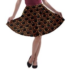 Scales2 Black Marble & Copper Foilscales2 Black Marble & Copper Foil A Line Skater Skirt