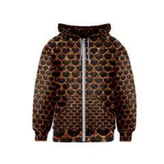 Scales3 Black Marble & Copper Foil Kids  Zipper Hoodie
