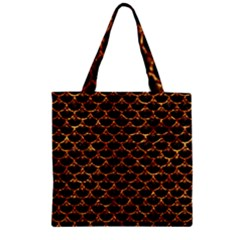 Scales3 Black Marble & Copper Foil Zipper Grocery Tote Bag