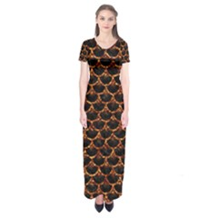 Scales3 Black Marble & Copper Foil Short Sleeve Maxi Dress