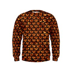 Scales3 Black Marble & Copper Foil (r) Kids  Sweatshirt