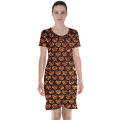Scales3 Black Marble & Copper Foil (r) Short Sleeve Nightdress