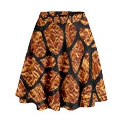 Skin1 Black Marble & Copper Foil High Waist Skirt