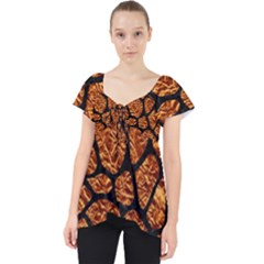 Skin1 Black Marble & Copper Foil Lace Front Dolly Top