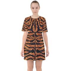 Skin2 Black Marble & Copper Foil (r) Sixties Short Sleeve Mini Dress