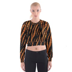 Skin3 Black Marble & Copper Foil Cropped Sweatshirt