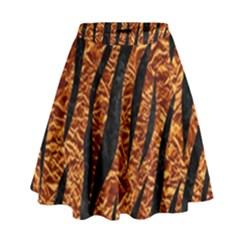 Skin3 Black Marble & Copper Foil (r) High Waist Skirt