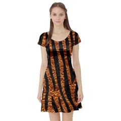 Skin4 Black Marble & Copper Foil Short Sleeve Skater Dress