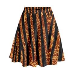 Skin4 Black Marble & Copper Foil High Waist Skirt